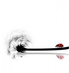 Dandelion with ladybird vector
