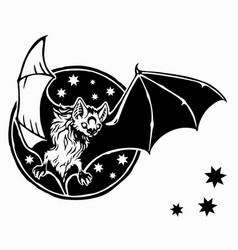 dark bat moon vector image