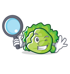 Detective lettuce character cartoon style vector