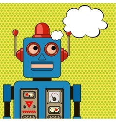 Dreaming cool robot Pop art poster vector