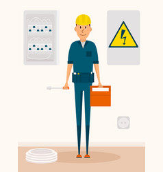 electrician cartoon character electric vector image