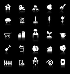Farming icons with reflect on black background vector image