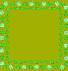 Frames of cabbage and cucumbers vector image