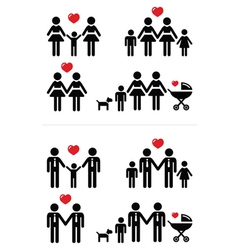 Gay lesbian couples and family with children icon vector image