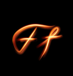 Glowing light letter f hand lighting painting vector
