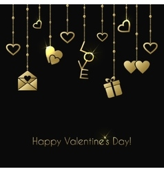 Greeting card for Valentines Day with gold hanging vector image