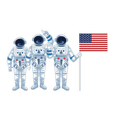 Group astronauts with us flag icon colorful vector