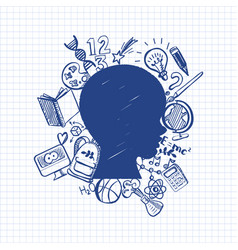 hand-drawn back to school on head vector image vector image