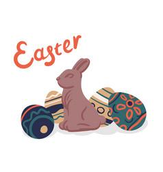 happy easter eggs celebration vector image