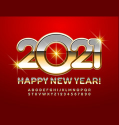 Happy new year 2021 greeting card metal alphabet vector
