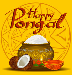 Happy pongal holiday harvest and festival yellow vector