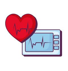 heart cardiology with ekg machine vector image