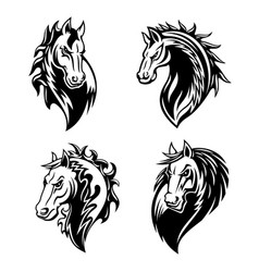 Horse or mustang animal icons tattoo and mascot vector