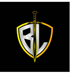 Initials b l is a shield decorated vector