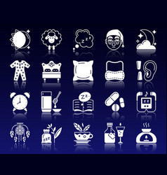 Insomnia white silhouette icons set vector