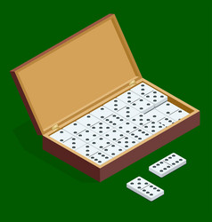 isomeric set of dominoes in bamboo box isolated on vector image