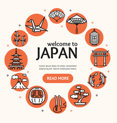 Japan travel and tourism concept card round design vector