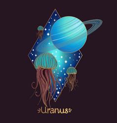 Landscape of planet rhombus uranus vector