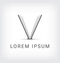 letter v book logo design template vector image