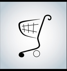 Linearly stylized shopping cart logo vector