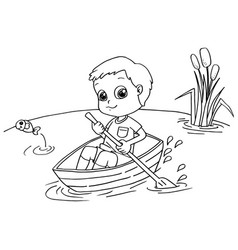 little boy rowing a boat coloring page vector image