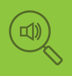 magnifying glass with loudspeaker color linear vector image