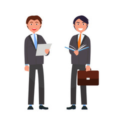 Male characters in expensive suit two businessman vector