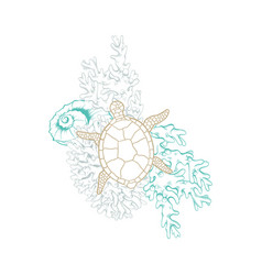 Marine golden line art seashell turtle and coral vector