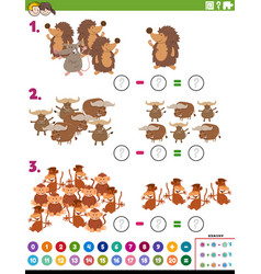 Maths subtraction educational task with animals vector