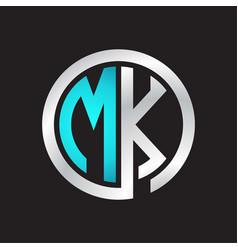 mk initial logo linked circle monogram vector image
