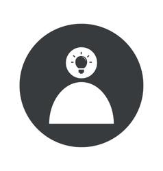Monochrome round idea icon 2 vector