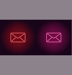 neon icon of red and pink mail vector image