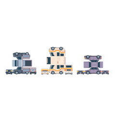 paper glue cars vehicle modelling prototype toys vector image
