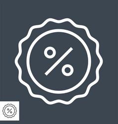 percent badge thin line icon vector image