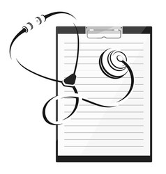 phonendoscope and note pad vector image
