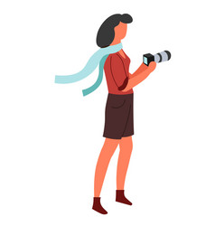 Photo camera isolated female character vector