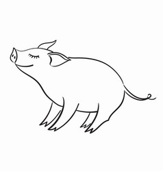 Pig template for greeting card black and white vector