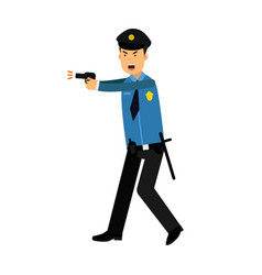 police officer character in a blue uniform aiming vector image