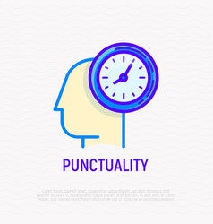 punctuality time management thin line icon vector image