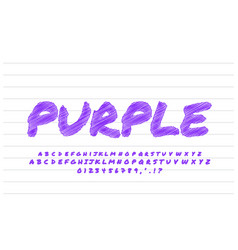 Purple sketch text effect or font effect style vector