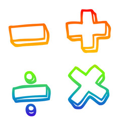 Rainbow gradient line drawing cartoon math symbols vector