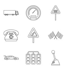 Rally icons set outline style vector