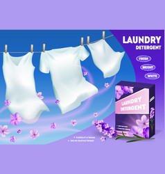 Realistic detailed 3d laundry detergent ads vector