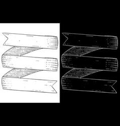 Ribbon banner scroll hand drawn sketch vector