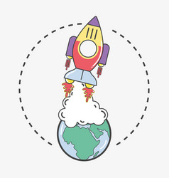 Rocket leaving earth planet to go to space vector