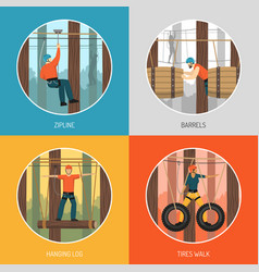 Rope walk park activities concept vector