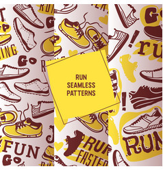 run faster set seamless patterns vector image