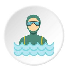 Scuba diver man in diving suit icon circle vector