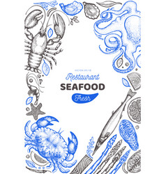 seafood and fish design template hand drawn food vector image