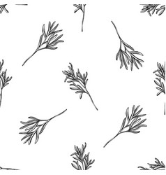 seamless pattern with black and white rosemary vector image